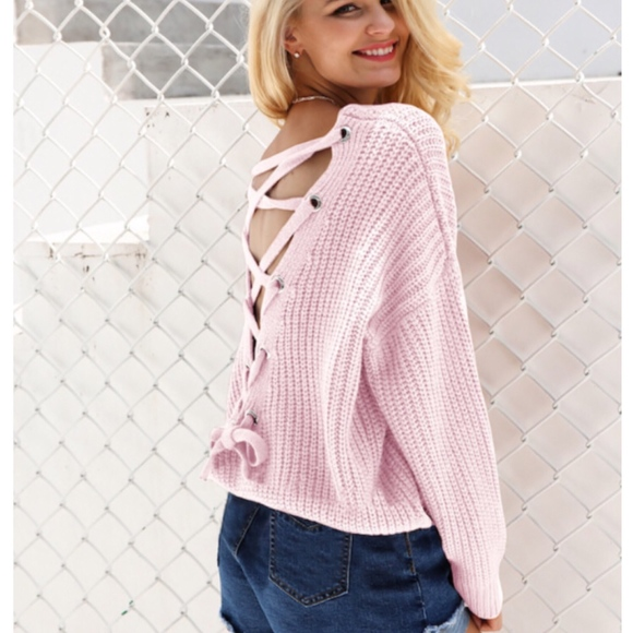 Sweaters - Pale Pink Back Grommet Lace Up Oversized Sweater